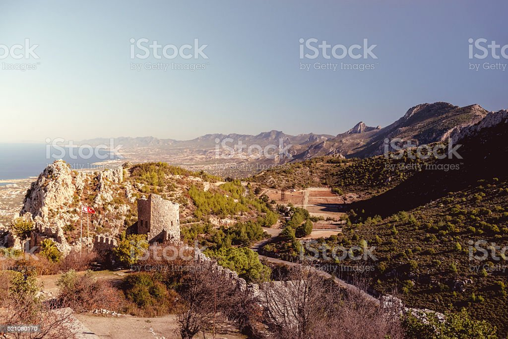 The Lower Ward of St. Hilarion Castle. Cyprus stock photo