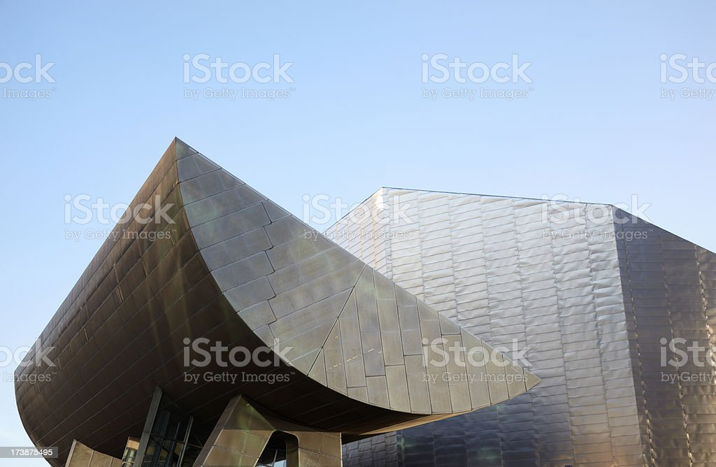 The Lowry Centre Roof with blue clear sky stock photo