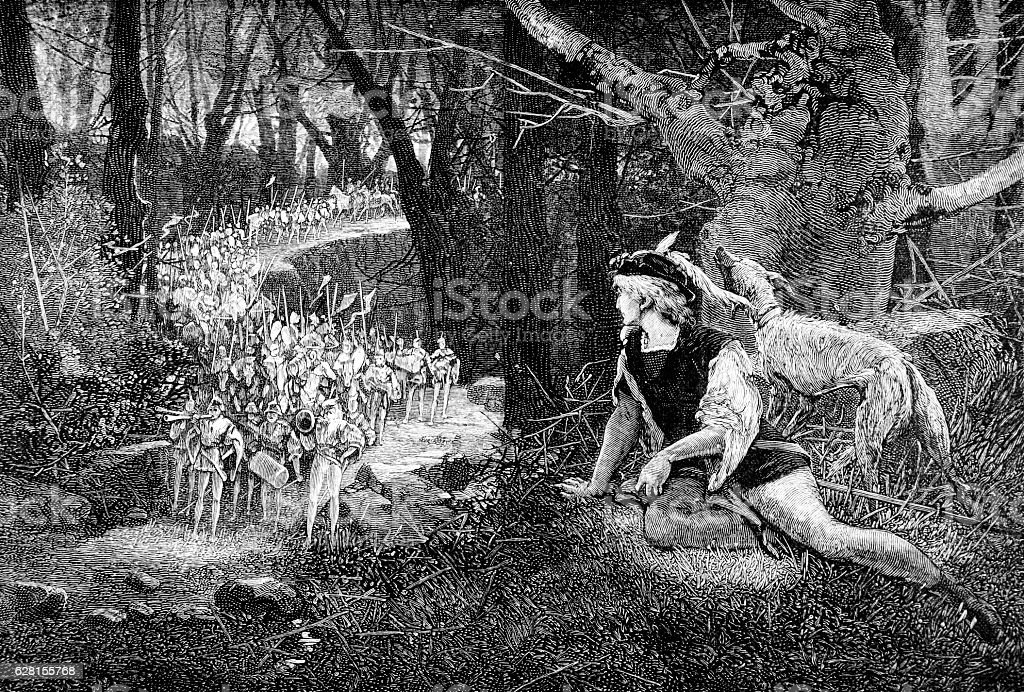 The Luck of Eden Hall, a minstrel hides from soldiers stock photo