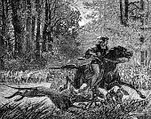 The Luck of Eden Hall, minstrel escapes on horse