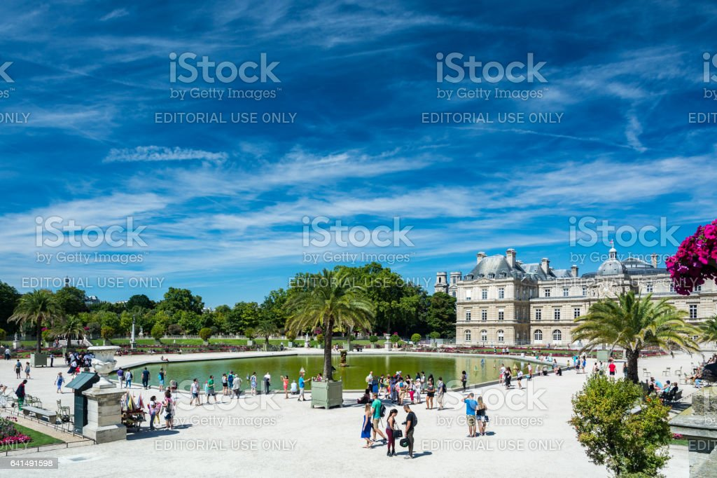 The Luxembourg Garden and the Luxembourg Palace stock photo
