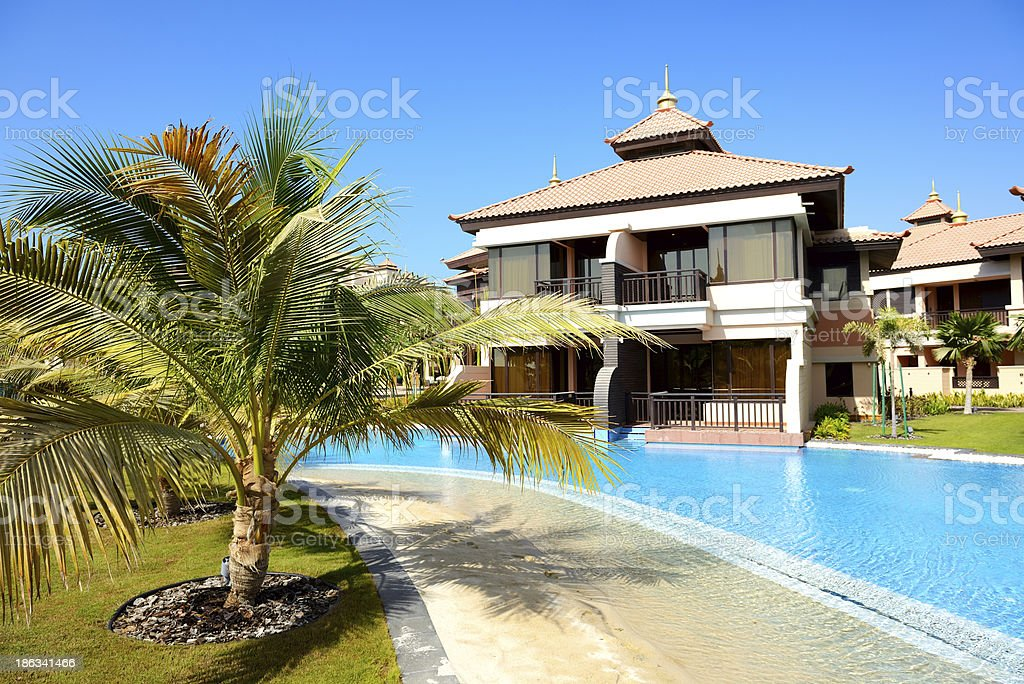 The luxury villas in Thai style hotel on Palm Jumeirah royalty-free stock photo