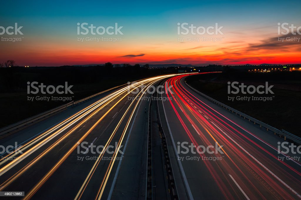The M0 motorway, Budapest / Hungary at night stock photo