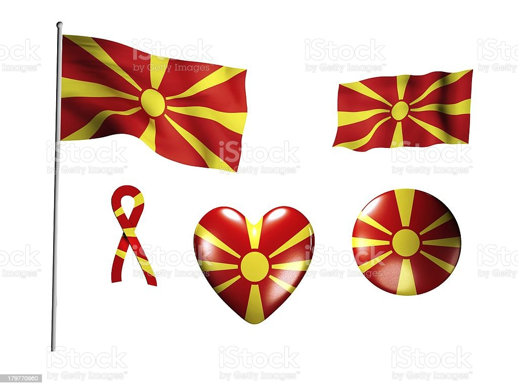 The Macedonia flag - set of icons and flags royalty-free stock photo
