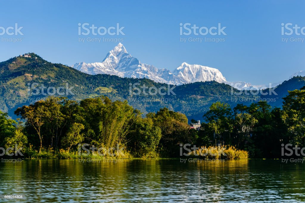 The Machapuchare and Annapurna III seen Pokhara, Nepal stock photo