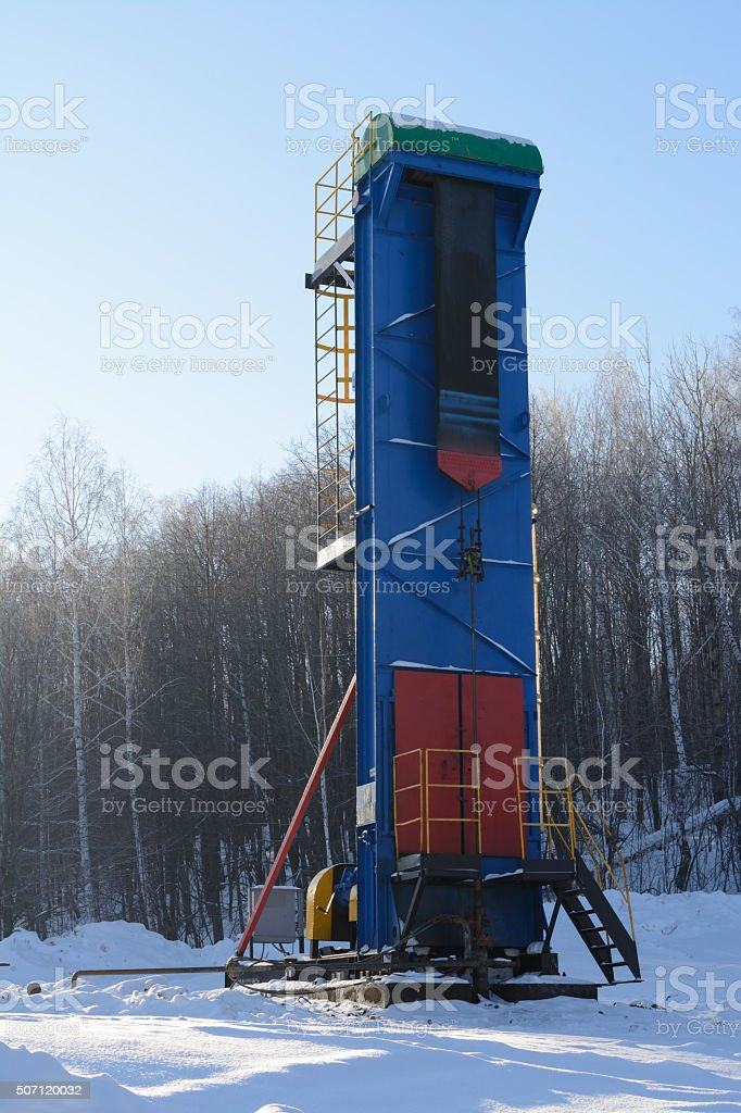 The machine for pumping oil chain type stock photo