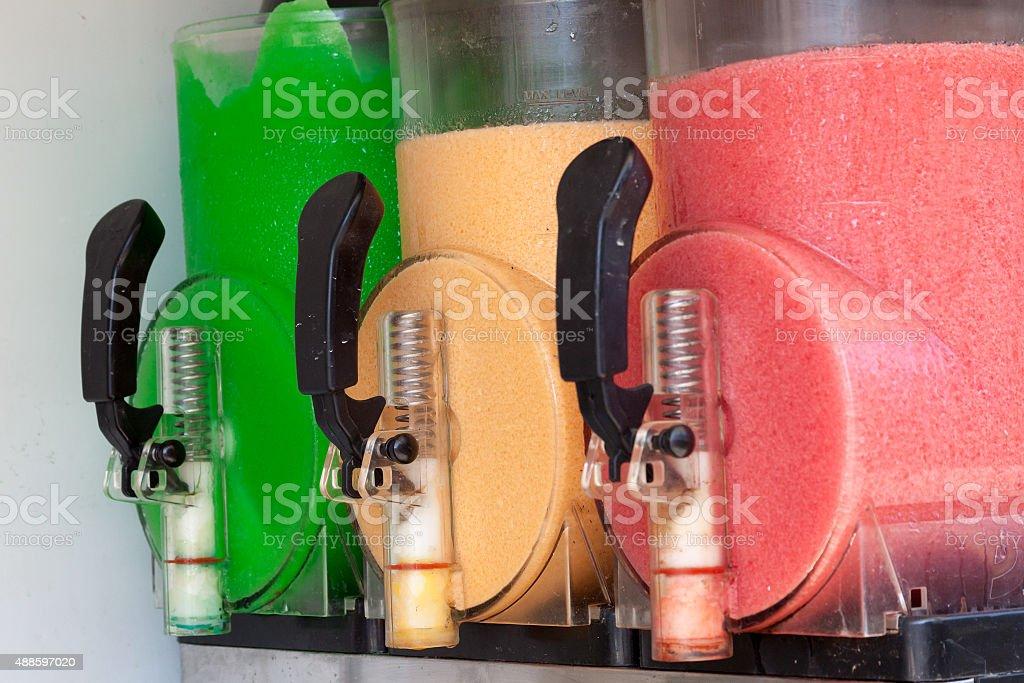 The machine gun doing the different frozen drinks stock photo