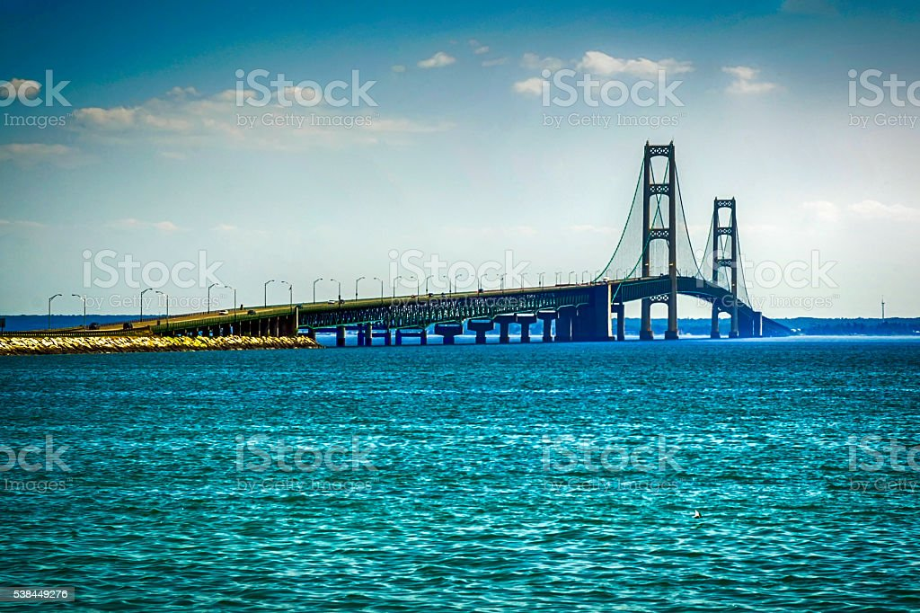 The Mackinac Suspension Bridge from Saint Ignace to Mackinaw MI stock photo