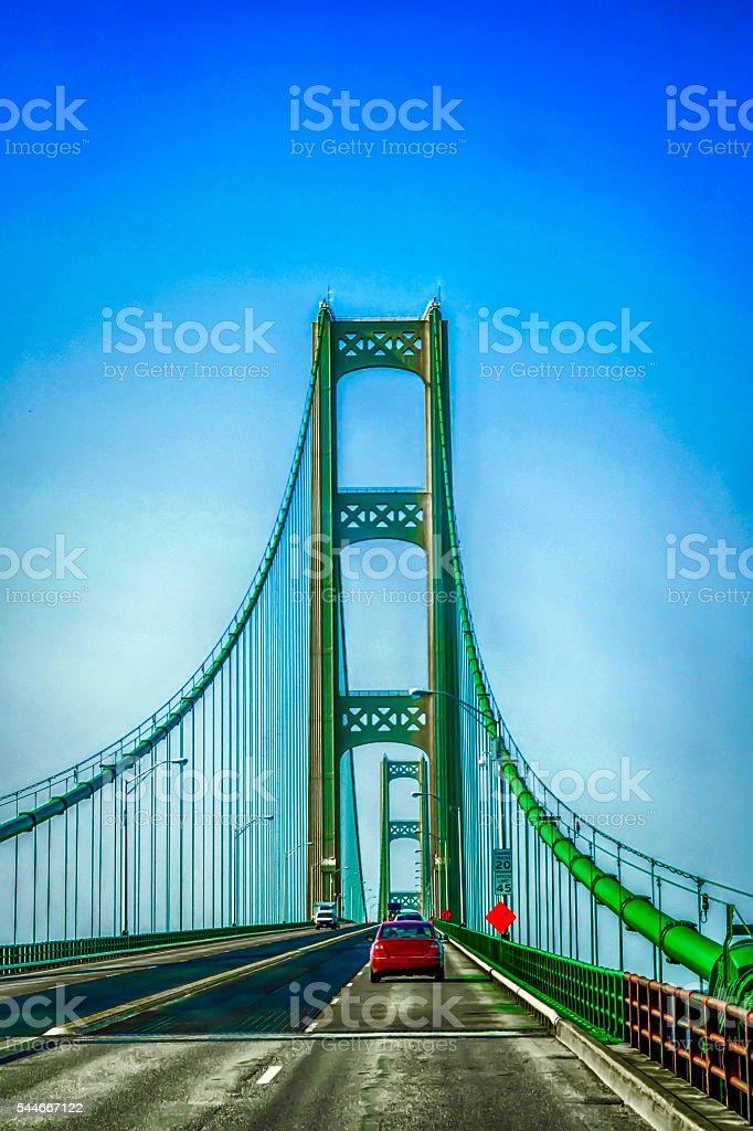 The Mackinac Suspension Bridge from Saint Ignace to Mackinaw MI stock photo