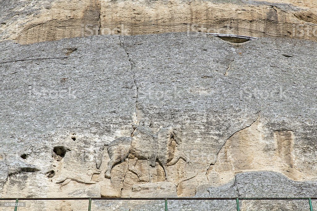 The Madara Rider is early medieval large rock relief, Bulgaria stock photo