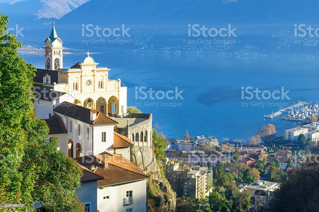 The Madonna del Sasso church, Locarno stock photo