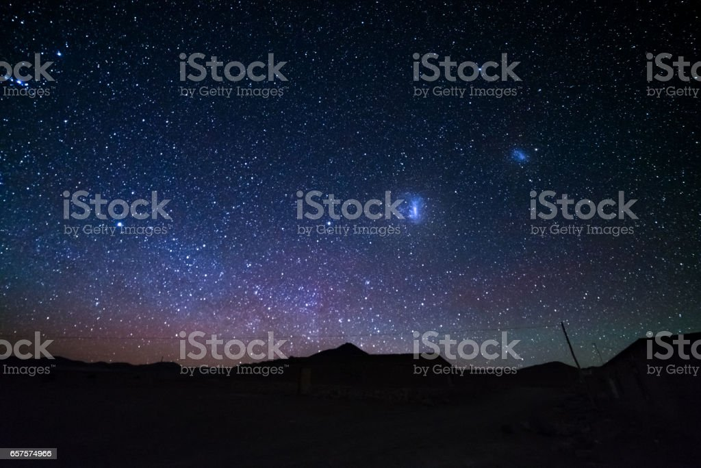 The Magellanic Clouds from the Andes, Bolivia stock photo