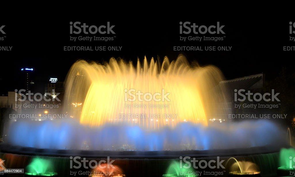 The Magic Fountain of Barcelona at night stock photo