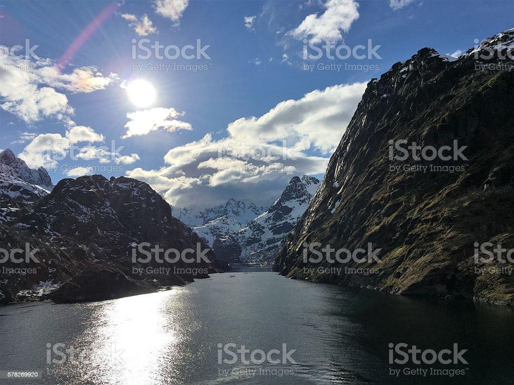 The magnificent Trollfjorden in Lofoten, Norway. photo libre de droits