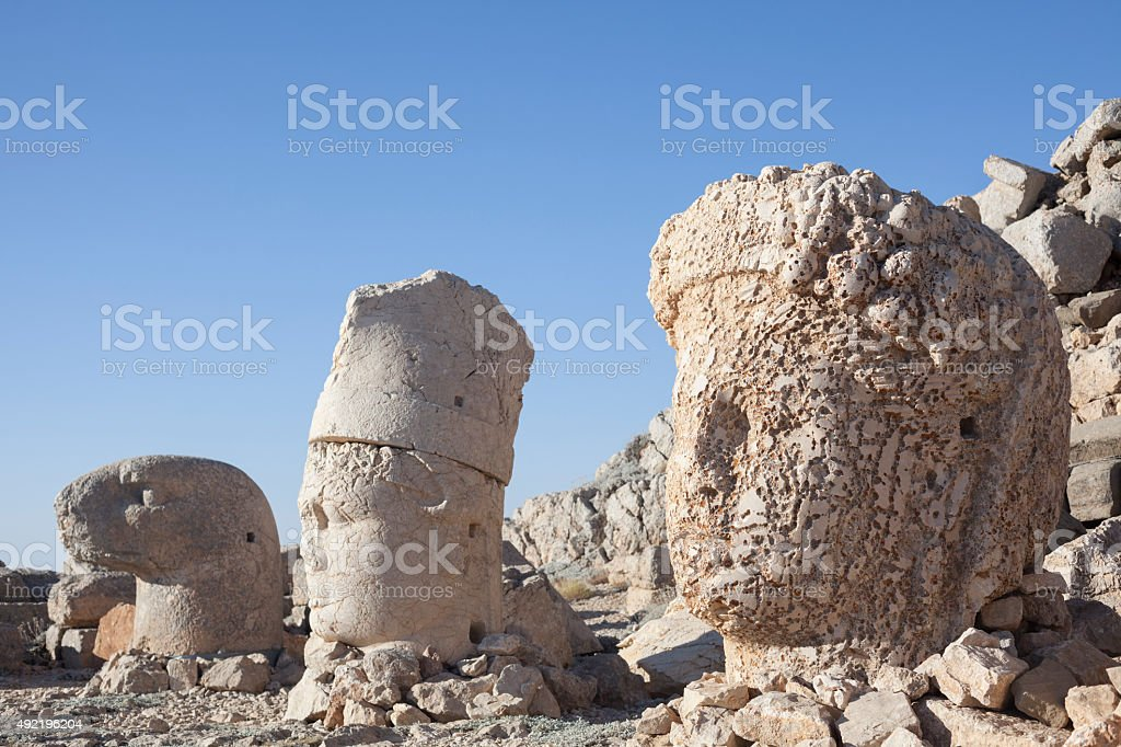The magnificient statues on Nemrut Dagi, Adiyaman ,Turkey stock photo