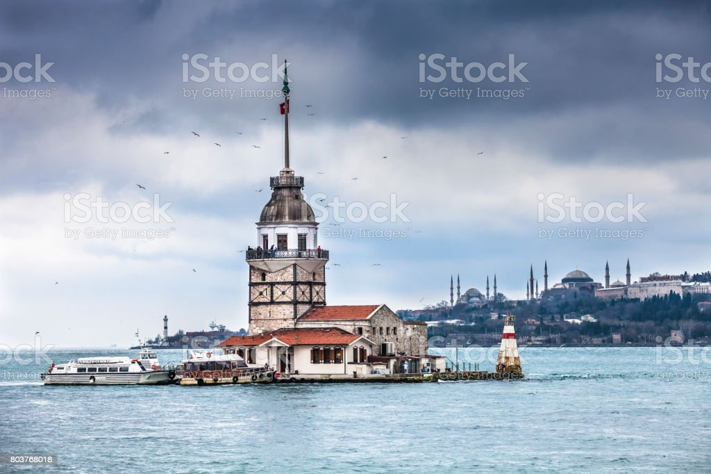 The Maidens Tower in Istanbul stock photo