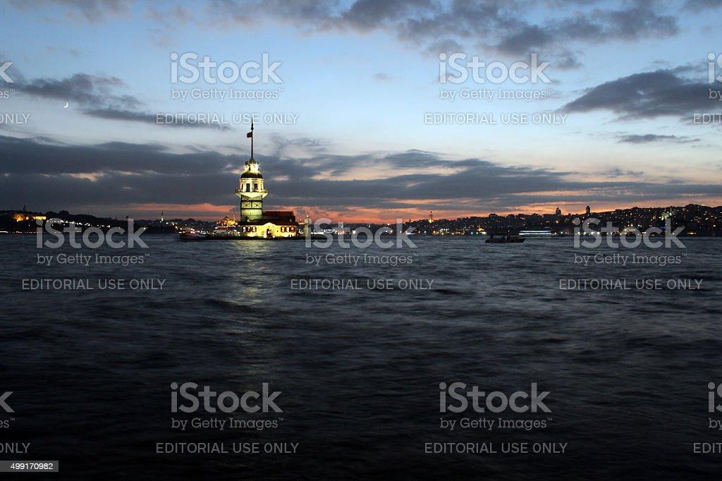 The Maiden's Tower (Kiz Kulesi) in Istanbul, Turkey. stock photo