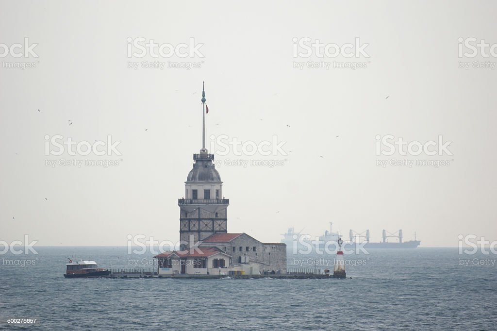 The Maiden`s Tower in the Bosporus stock photo