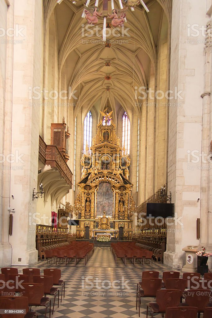 The main altar in the church St. Catherine in Krakow stock photo