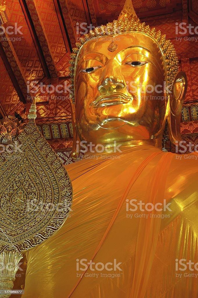 The main Buddha image, Wat Phanan Choeng royalty-free stock photo