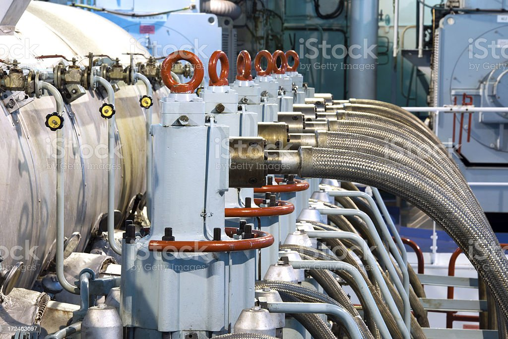 The main engine in a ship's engine room stock photo
