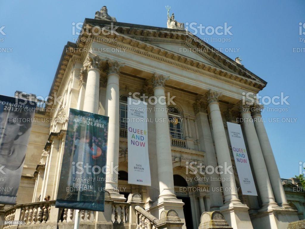 The main entrance to Tate Britain, London, England stock photo