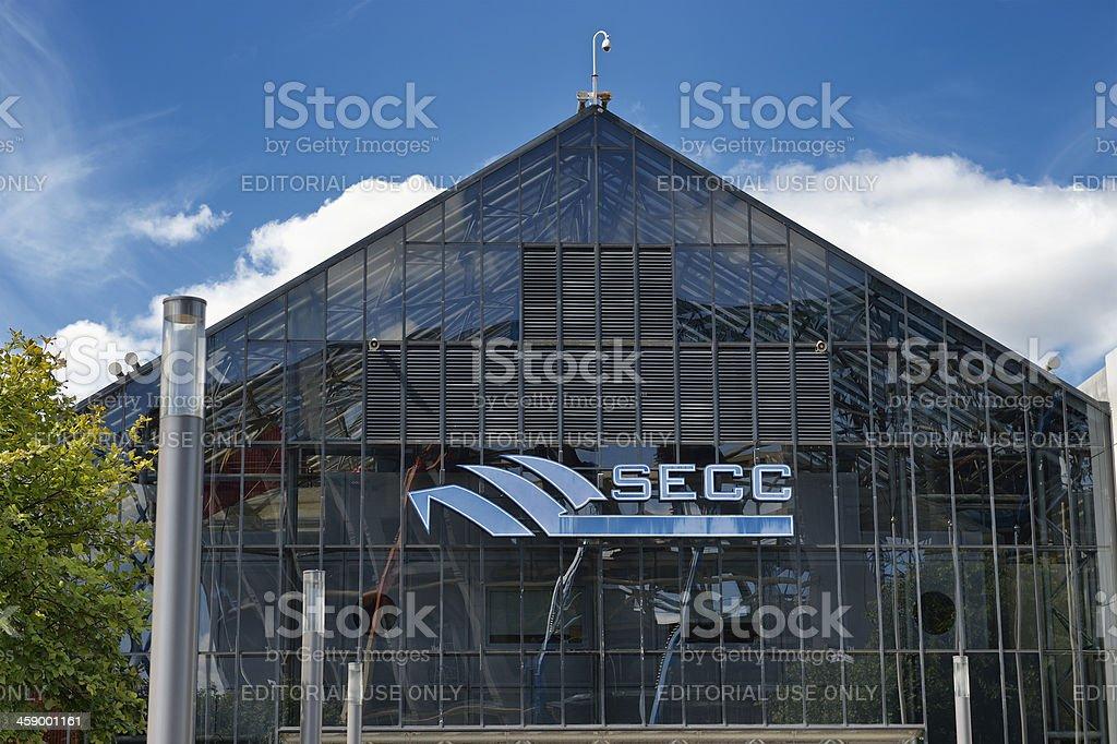 The main entrance to the SECC in Glasgow, Scotland stock photo