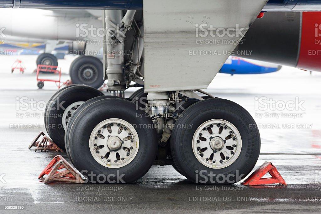 The main landing gear of passenger aircraft Tu-204. stock photo