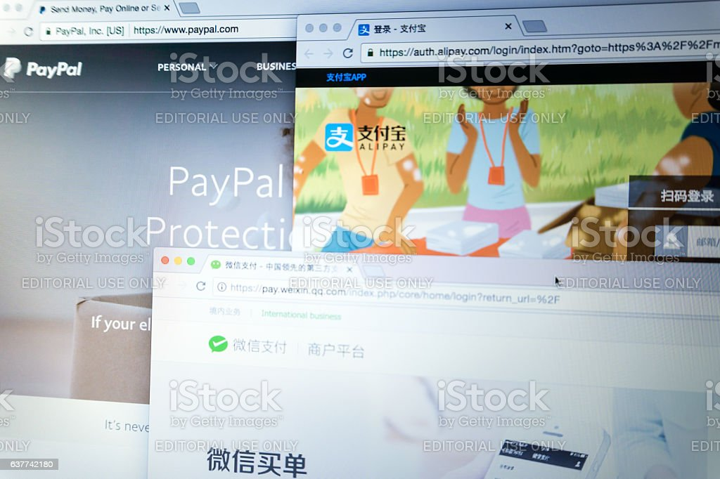 The main online online payment networks stock photo