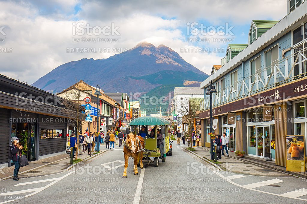 The main shopping street of Yufuin, Japan stock photo