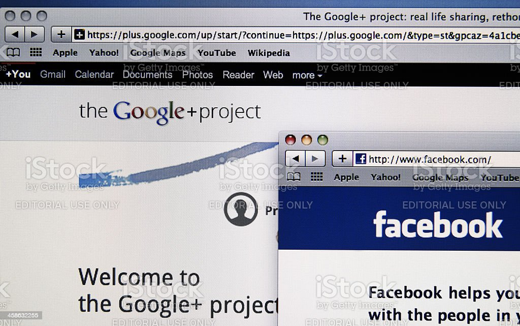 The main social network on web in white lcd screen royalty-free stock photo