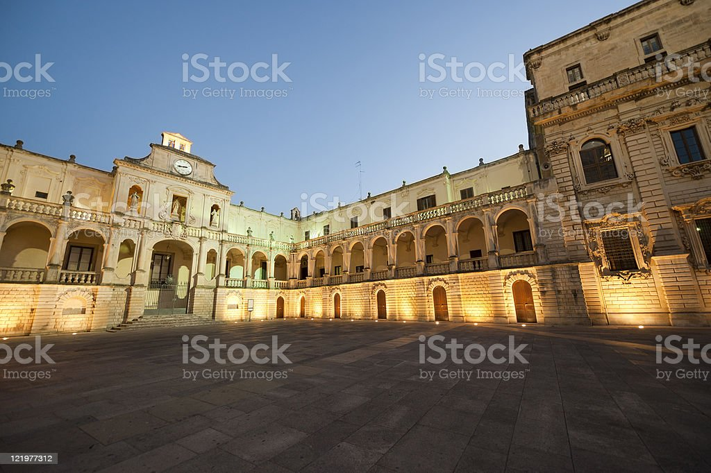 The main square at Lecce in Puglia, Italy in the evening stock photo