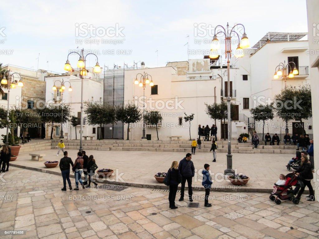 the main square in Polignano a mare - Puglia - Italy stock photo