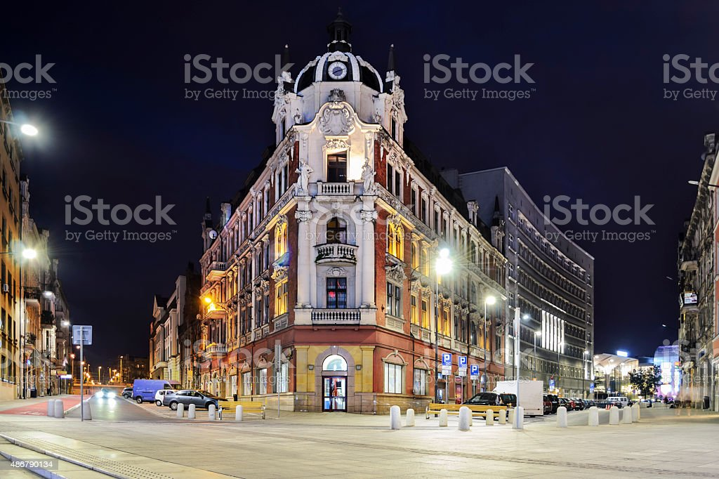 The main square in the city center of Katowice stock photo