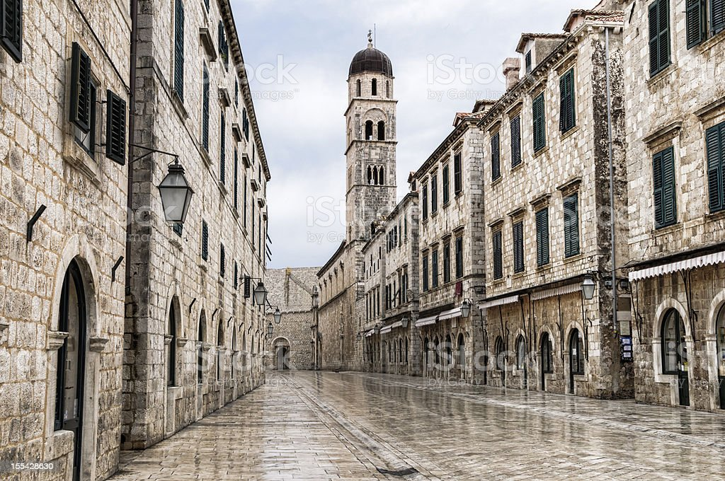 The main street located in the town of Dubrovnik, Croatia  stock photo