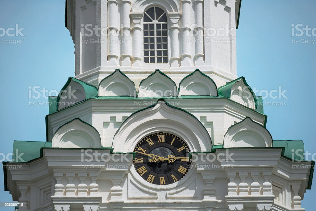 The main town clock in the Kremlin (On Prechistenskaya belfry). stock photo