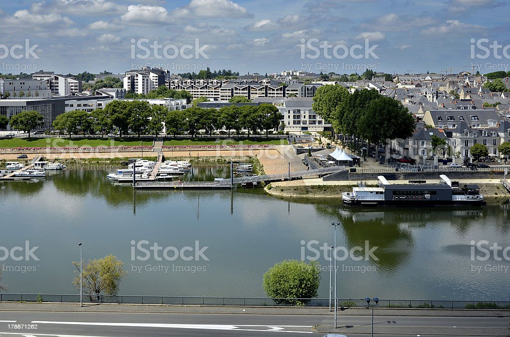 The Maine river at Angers in France stock photo