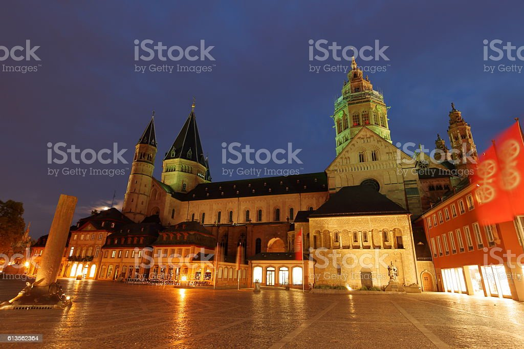The Mainz Cathedral Kaiserdom High St. Martin's Cathedral stock photo