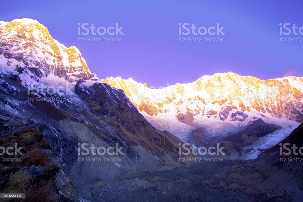 The majestic  Annapurna range stock photo