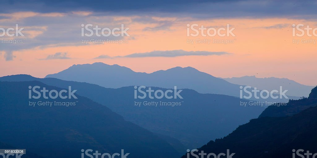 The majestic Himalayas at the sunset time, Nepal stock photo
