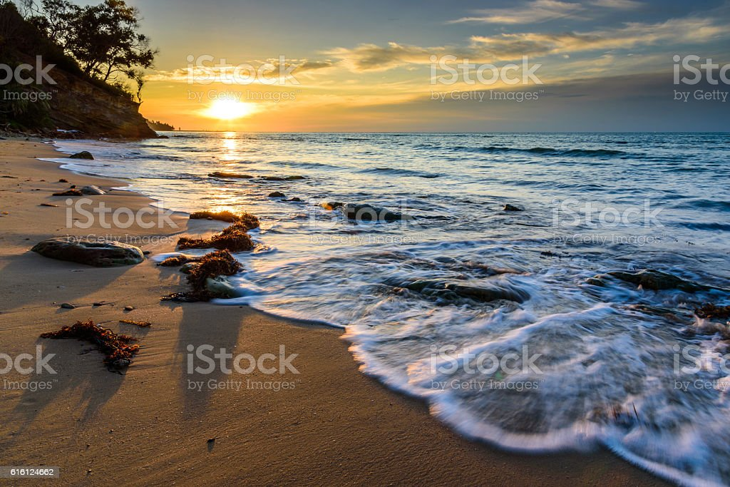 The majestic peaceful sunset stock photo