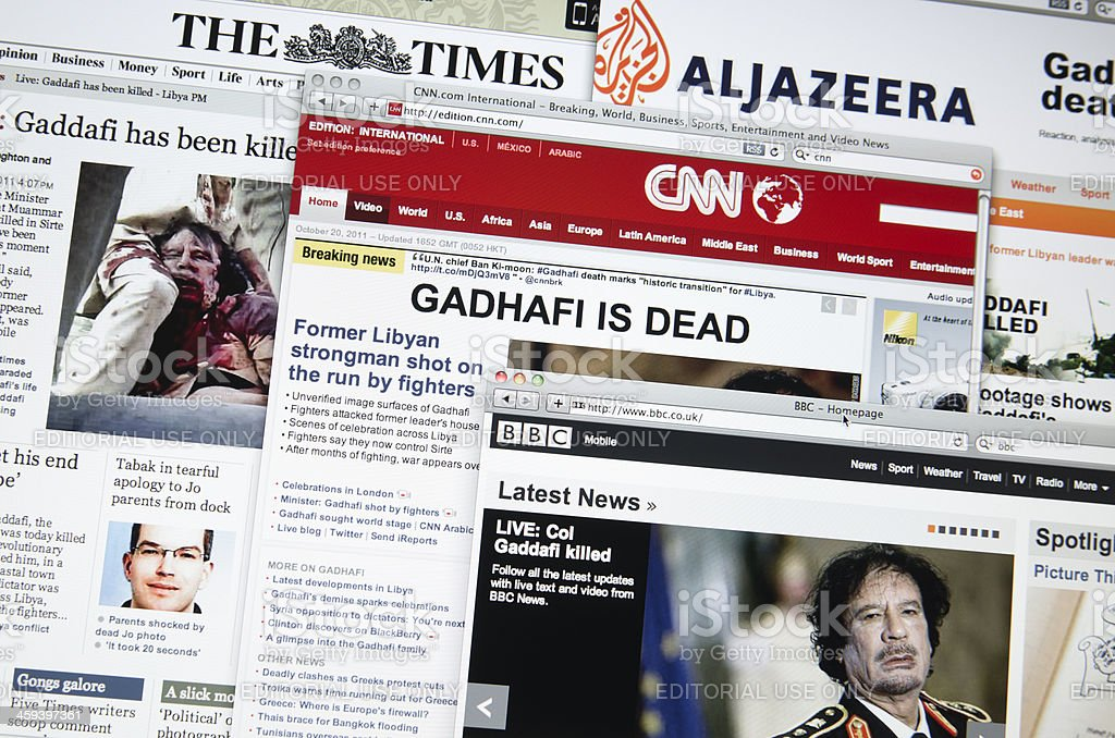 The major Online web newspaper show : Gadgafi death stock photo