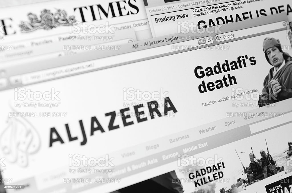 The major Online web newspaper show : Ghadafi death stock photo