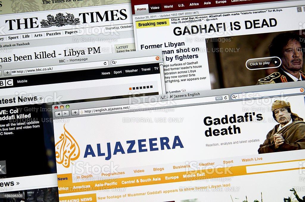 The major Online web newspaper show : Ghadafi death stock photo
