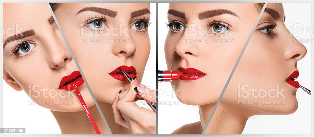 The make-up collage. Professional details stock photo