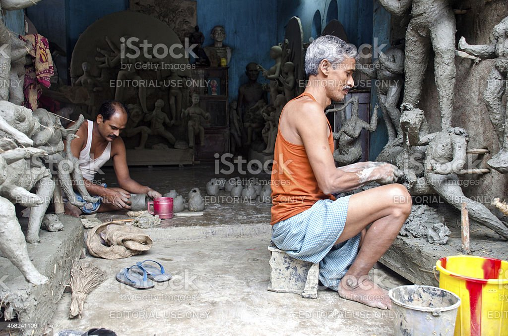 The making of a Durga statue royalty-free stock photo