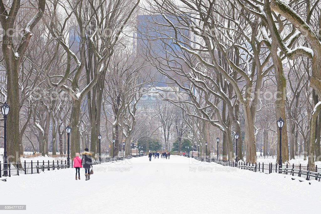 The Mall in Winter - Central Park stock photo