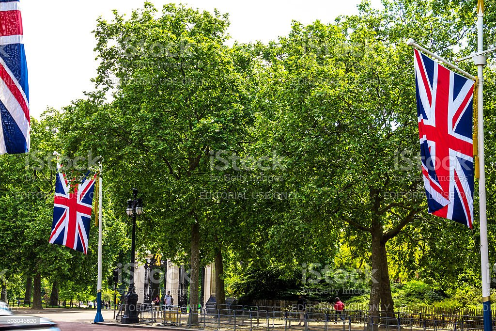 The Mall, street in front of Buckingham Palace in London stock photo