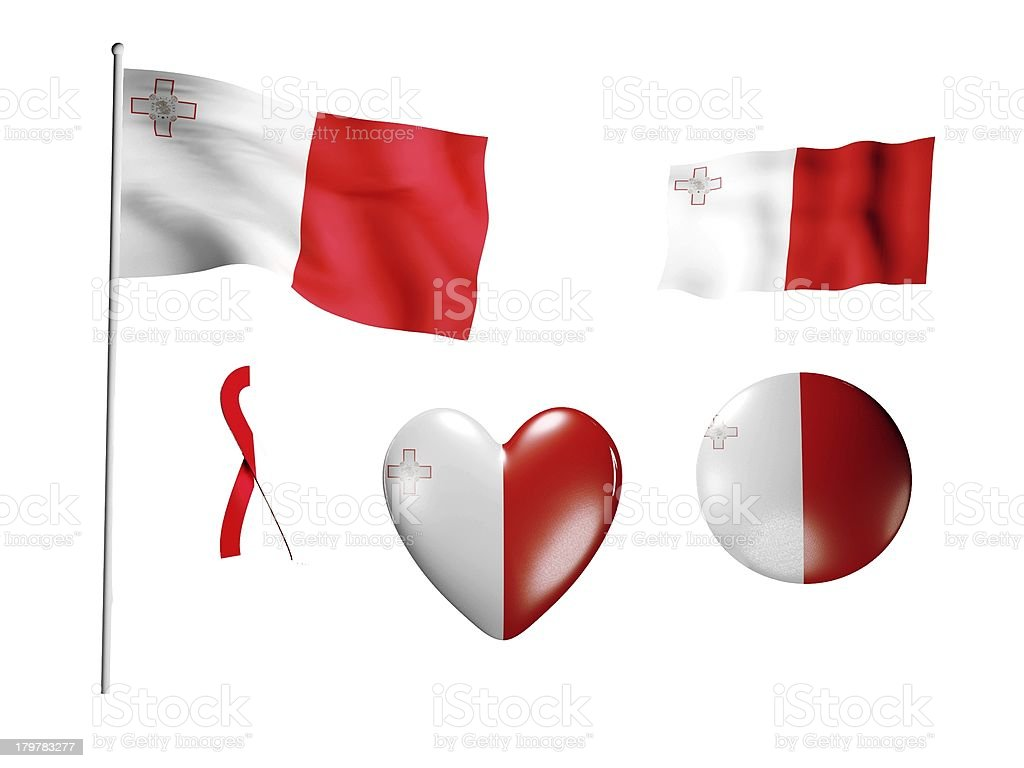 The Malta flag - set of icons and flags royalty-free stock photo
