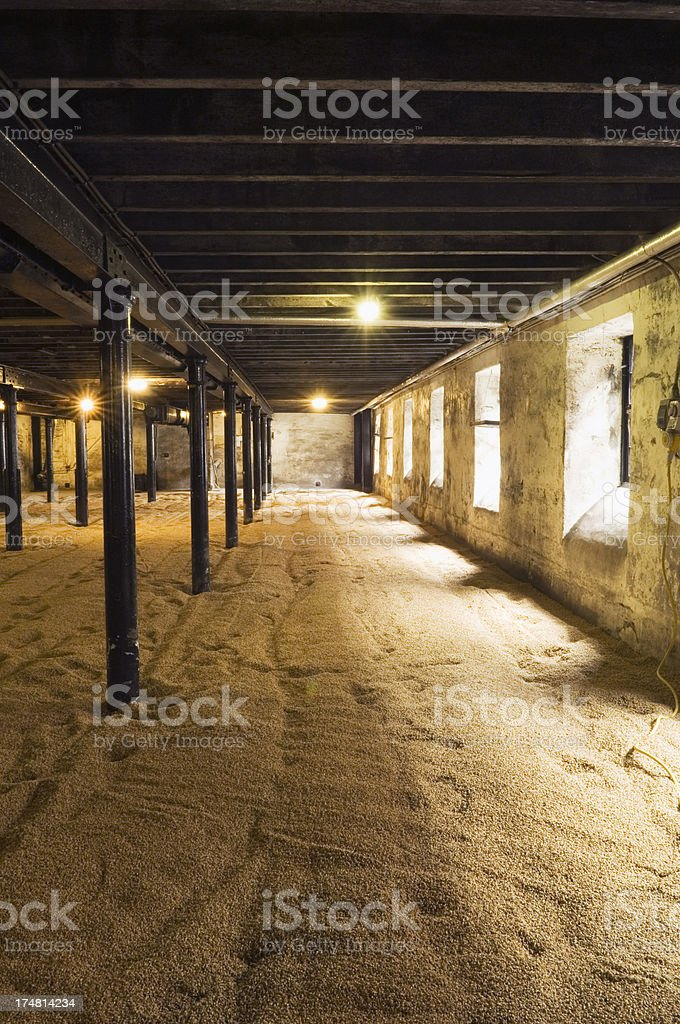 The Malting Room in a Scottish distillery royalty-free stock photo